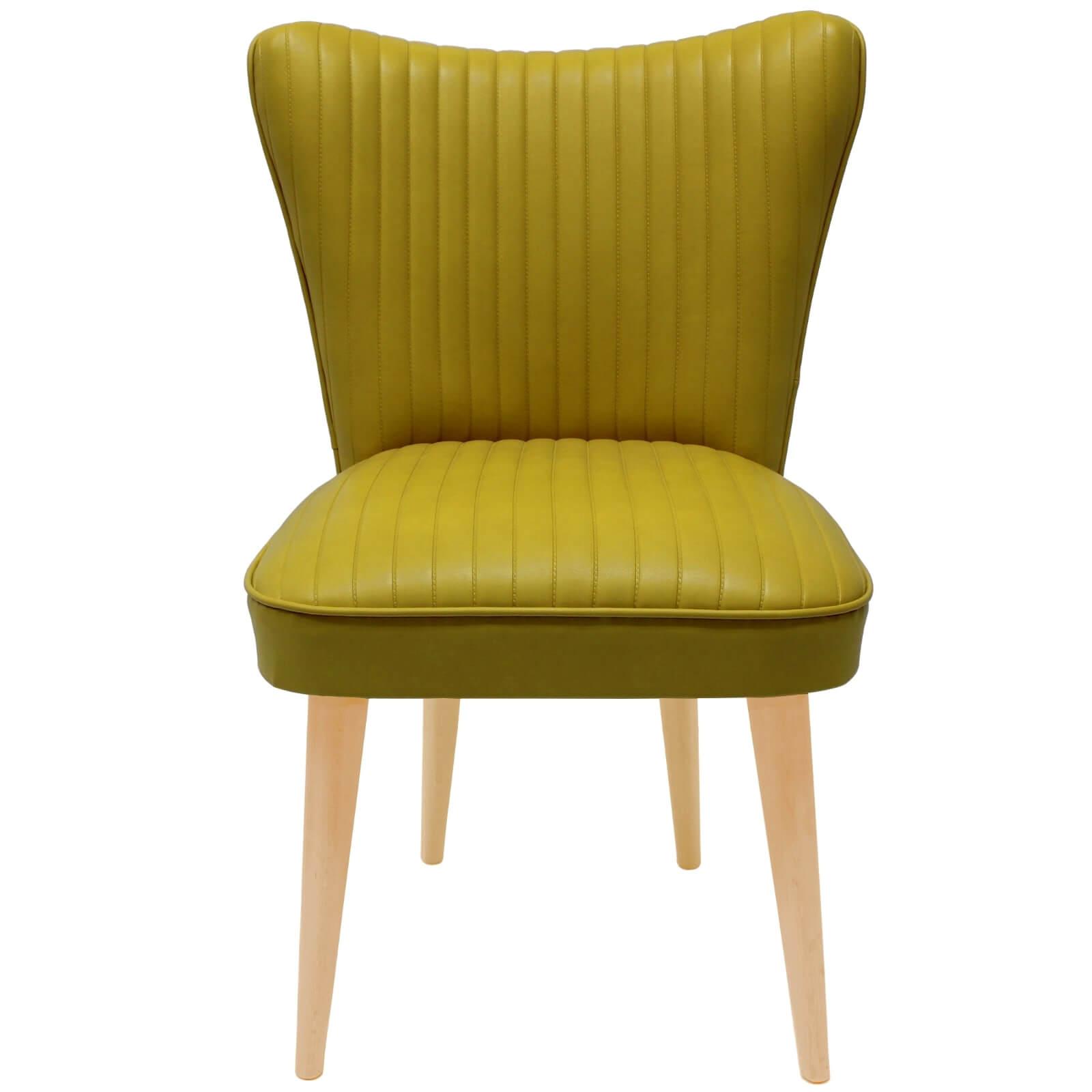 Poltroncina in Ecopelle giallo stile Vintage con gamba in legno ...