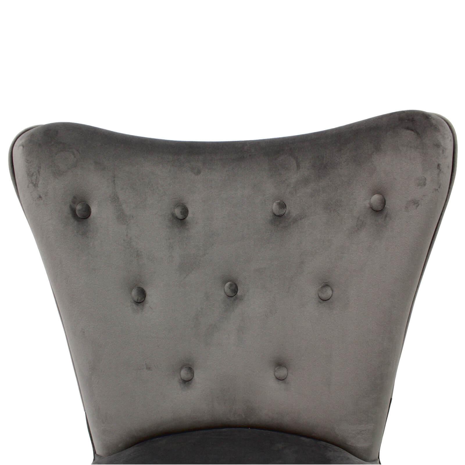 Poltroncina in Velluto grigio stile Vintage con gamba in legno ...