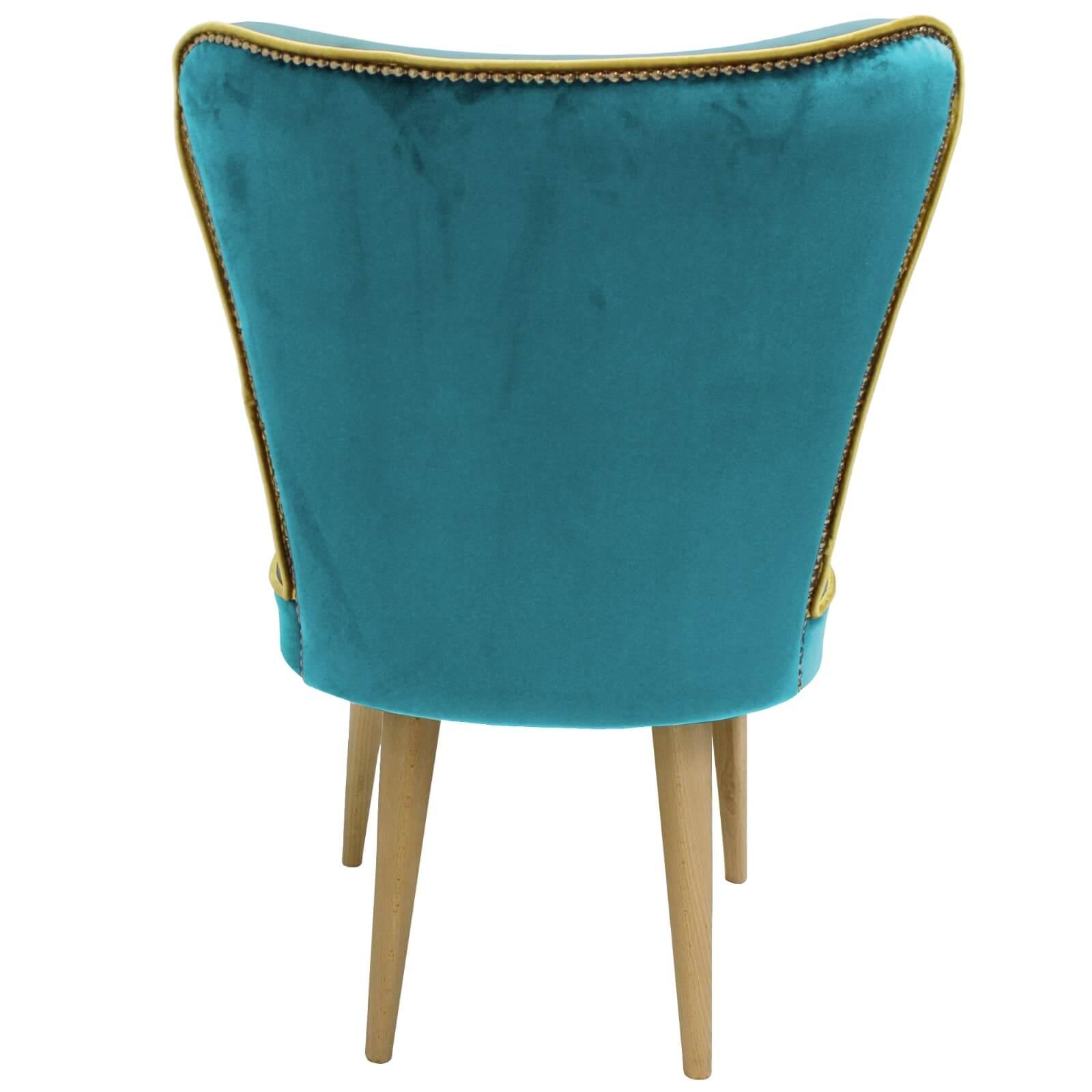 Poltroncina In Velluto Turchese Stile Vintage Con Gamba In Legno Faggio Naturale Antea