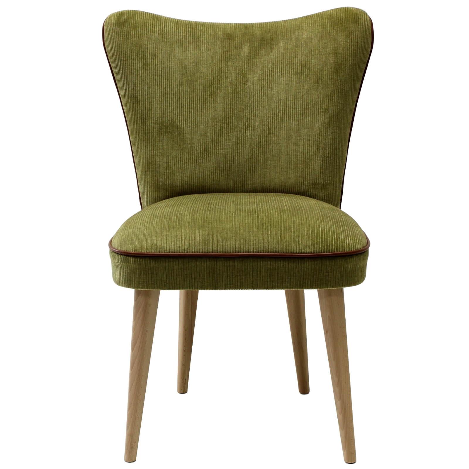 Poltroncina in Velluto a coste verde stile Vintage con gamba in legno  faggio effetto rovere noce – ANTEA