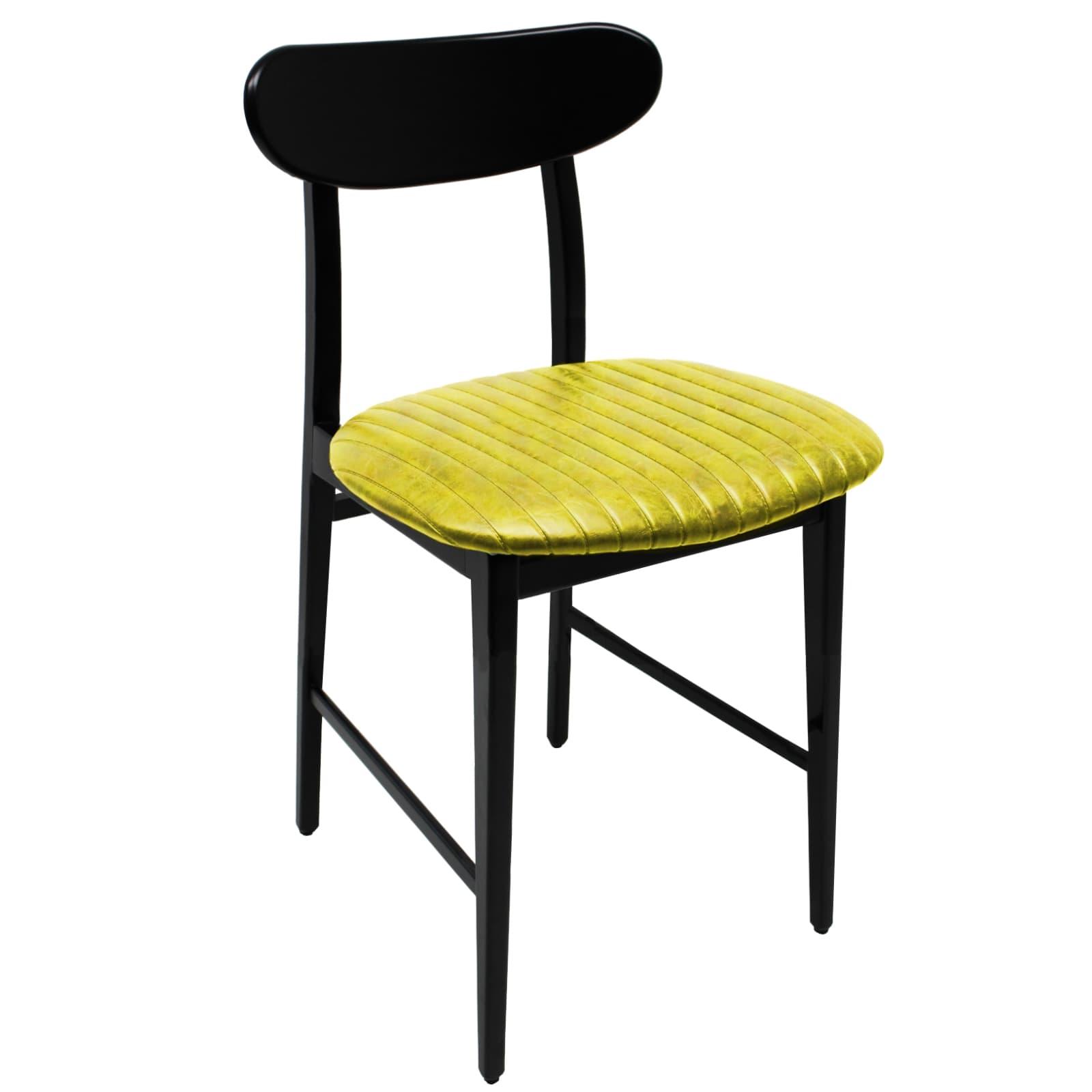 Sedia in Ecopelle giallo stile Vintage con gambe e spalliera in ...