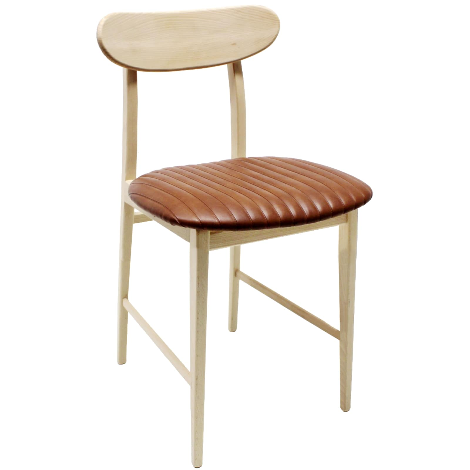 Sedia in ecopelle marrone stile vintage con gambe e for Sedie design legno naturale