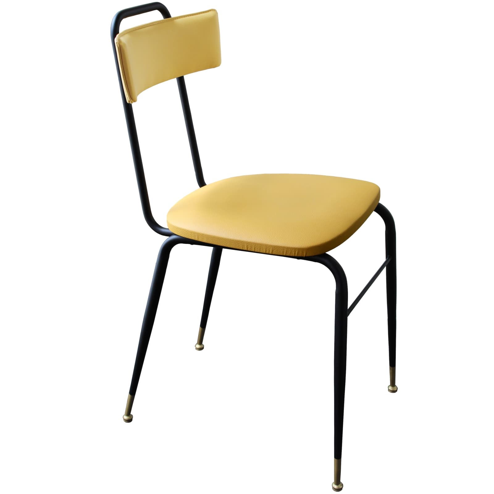 Sedia in Ecopelle senape stile Vintage con gambe in Metallo nero – CLOE