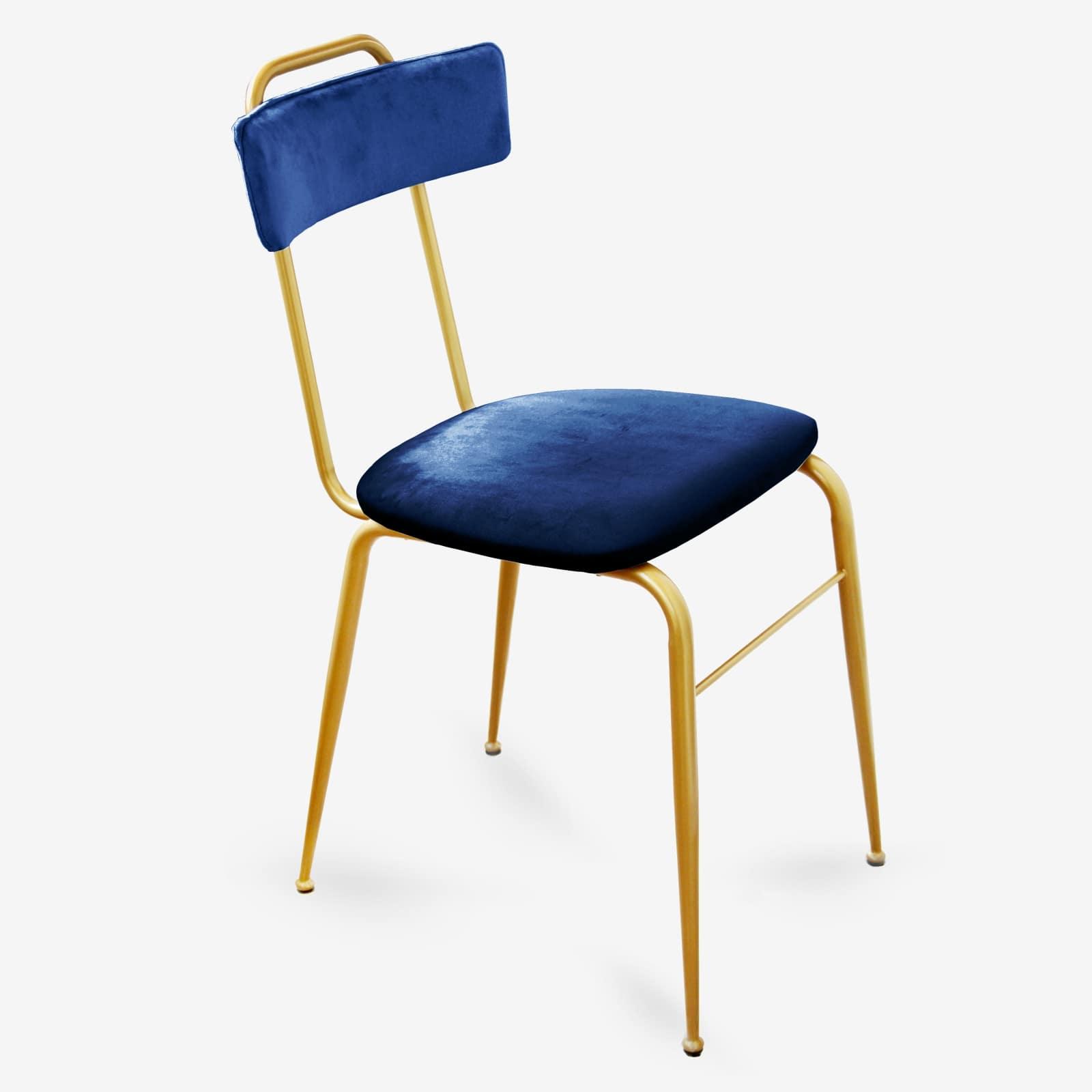 Sedia in Velluto blu stile Vintage con gambe in Metallo oro liscio – CLOE