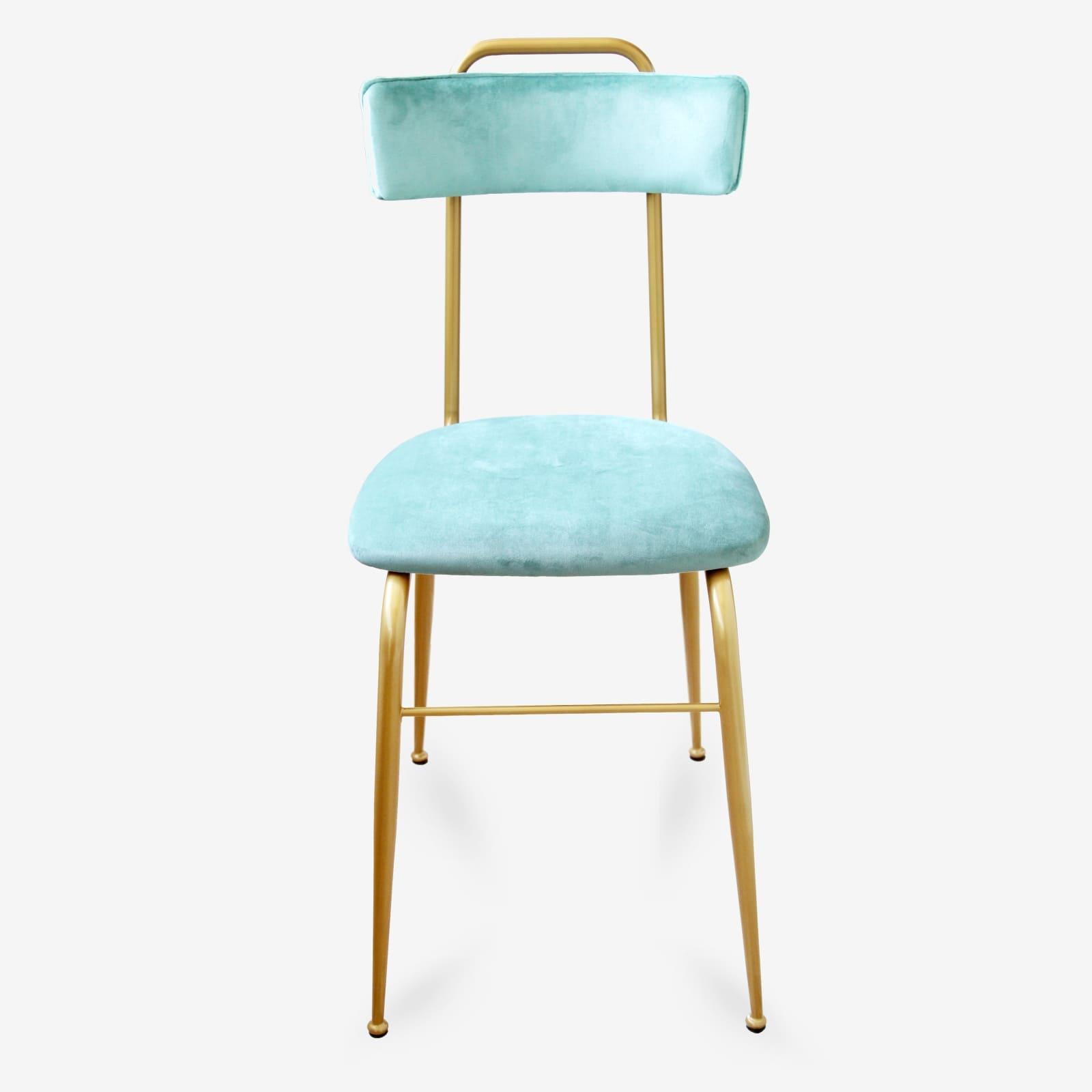 Sedia in Velluto turchese stile Vintage con gambe in Metallo oro liscio –  CLOE