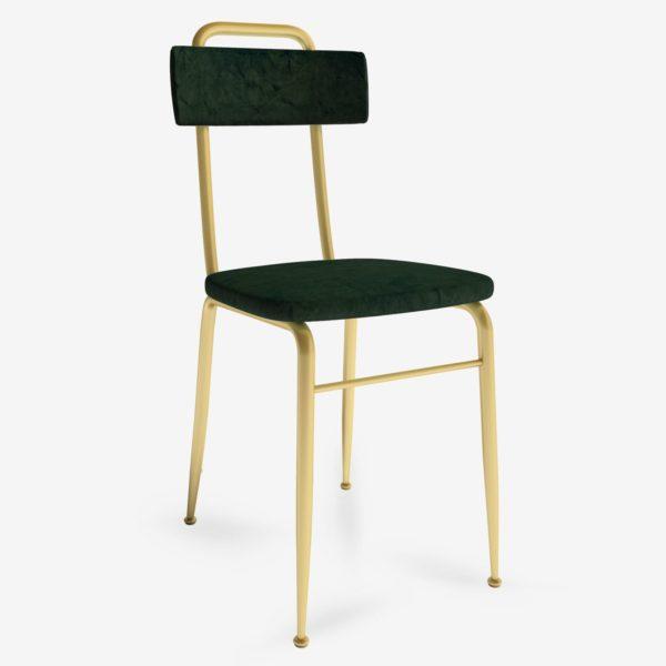 sedie in stile classico vintage in velluto con gambe in metallo per arredamento contract