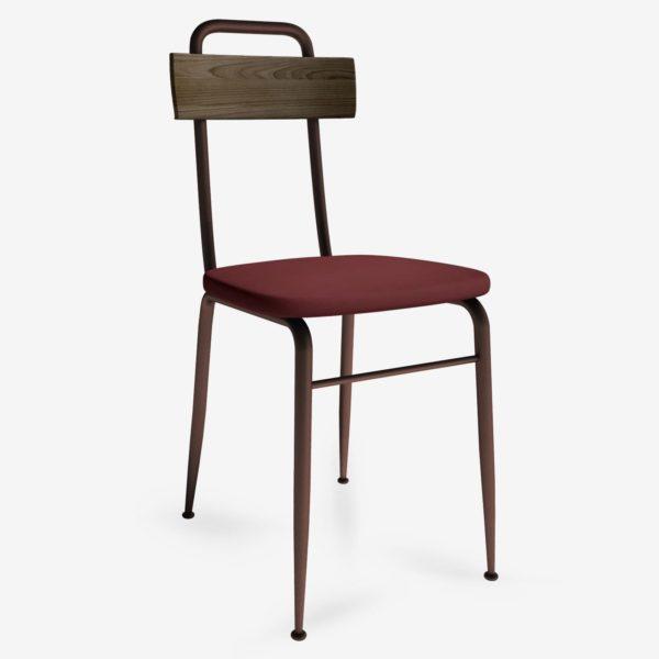 sedie in stile industriale in ecopelle, legno con gambe in metallo per arredamento contract