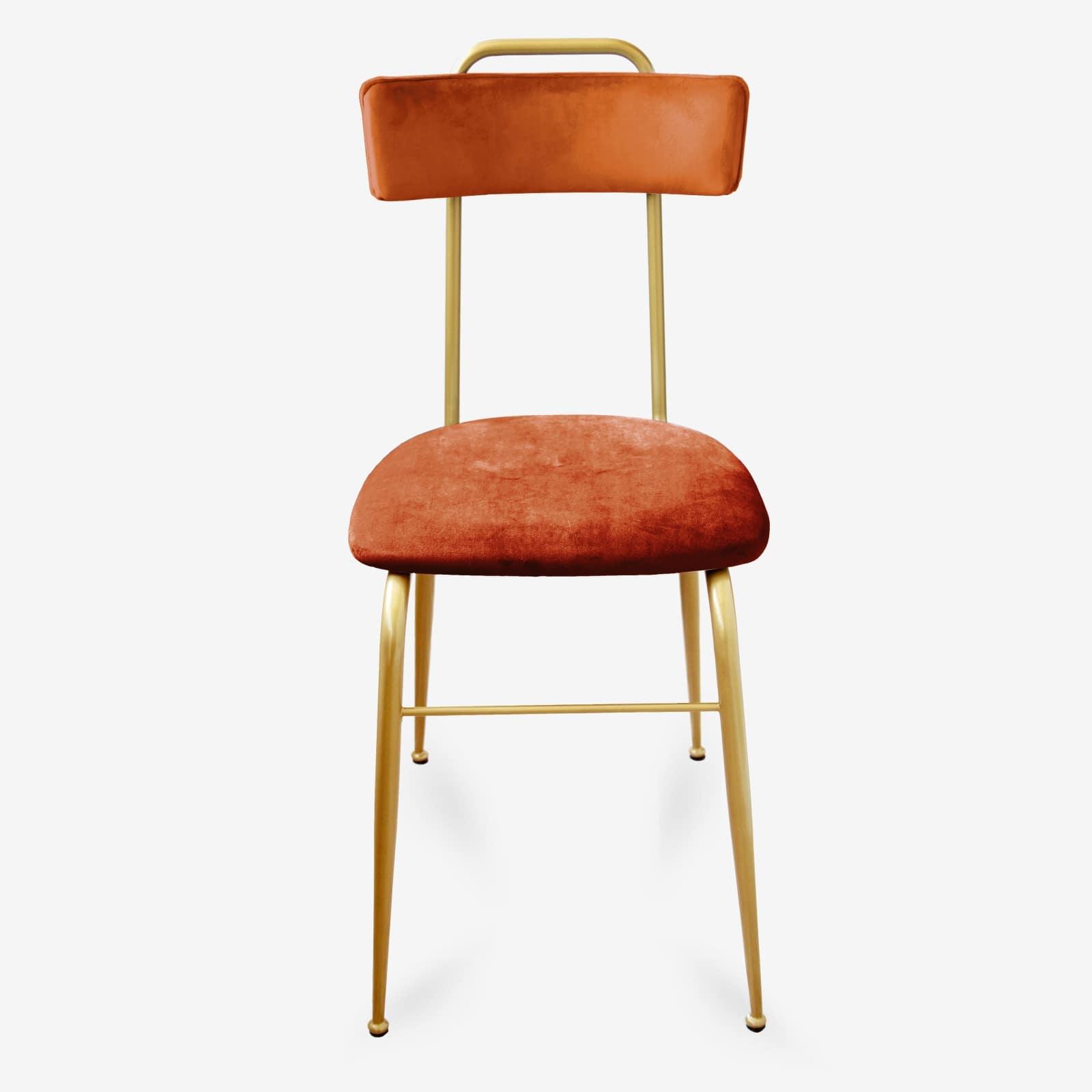 Sedia in Velluto arancio stile Vintage con gambe in Metallo oro liscio CLOE