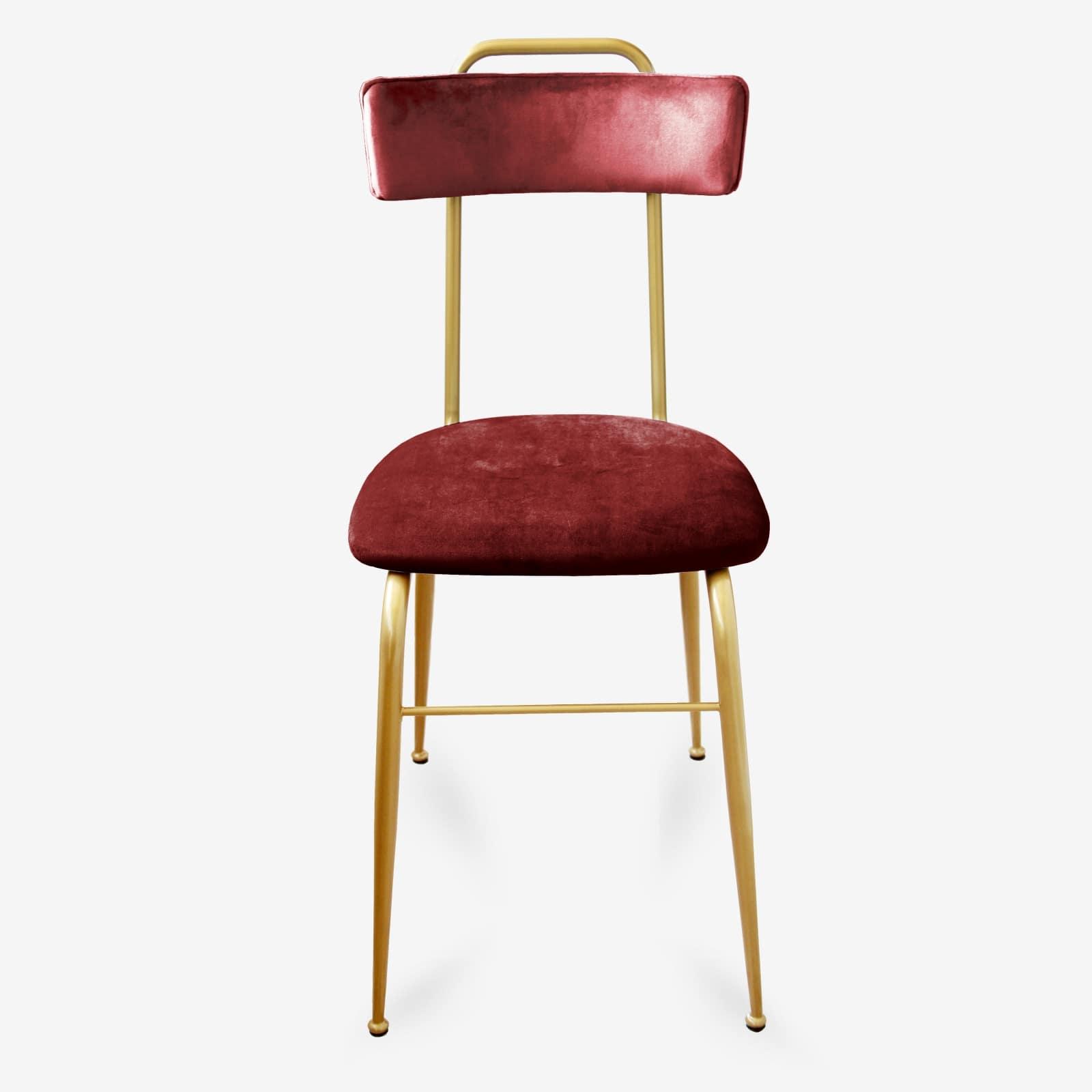 Sedia in Velluto bordò stile Vintage con gambe in Metallo - CLOE -