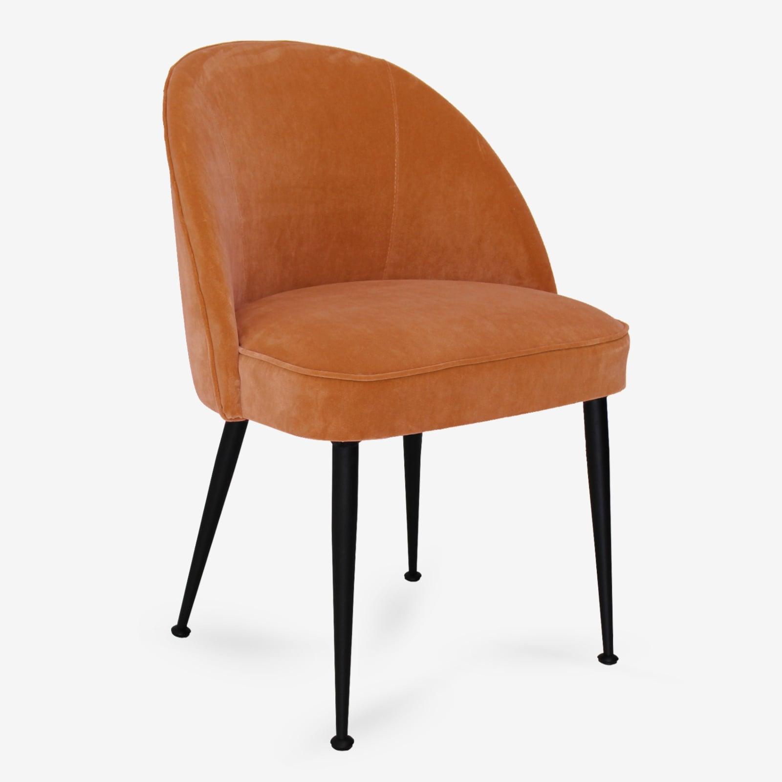 Sedia moderna imbottita in Velluto arancio con gambe in
