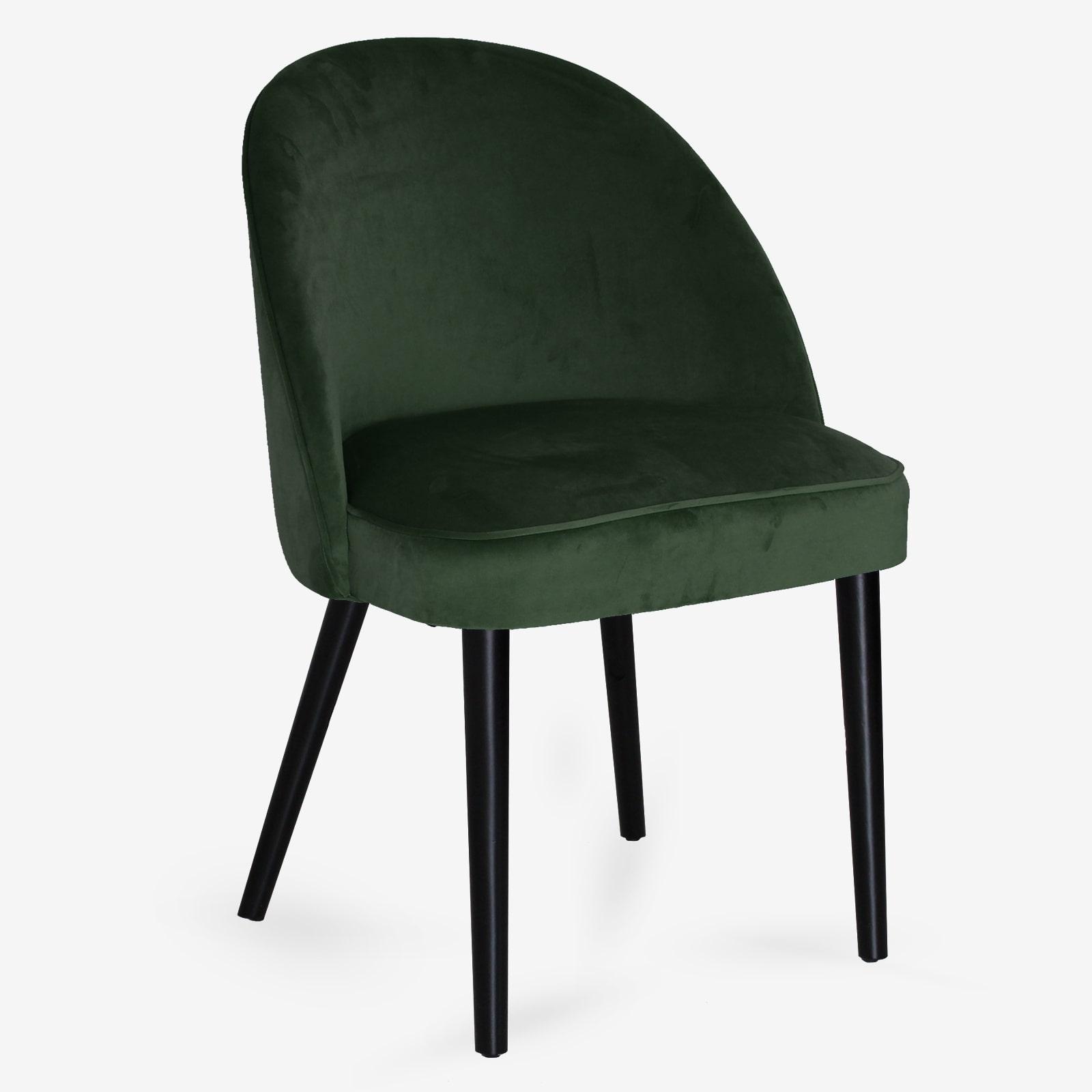 Sedie Moderne Legno.Sedia In Velluto Verde Con Gambe In Legno Massello Di Faggio